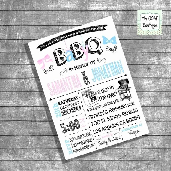Gender Reveal Bbq Invitations New Bbq Gender Reveal Invitation Baby Q Gender Reveal Invite