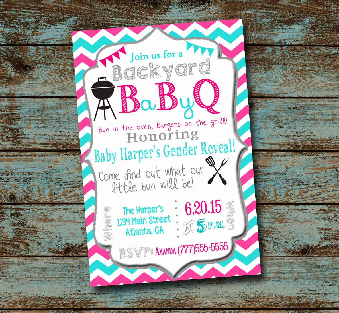 Gender Reveal Bbq Invitations Unique Baby Bbq Gender Reveal Baby Shower Digital File Chevron