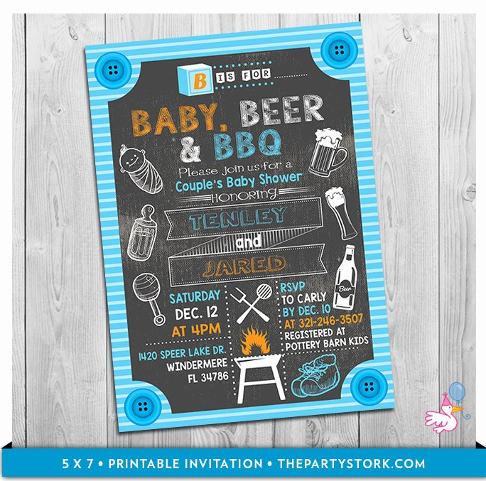 Gender Reveal Bbq Invitations Unique Baby Beer & Bbq Baby Shower Invitation Printable Chalkboard