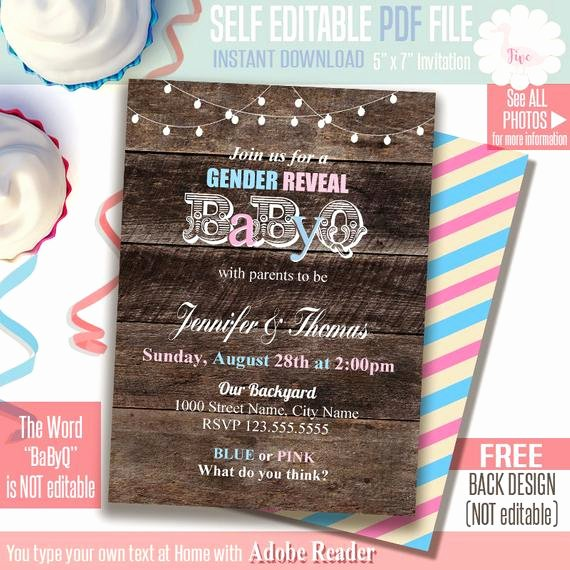 Gender Reveal Bbq Invitations Unique Babyq Invitation Gender Reveal Bbq Party Printable Self