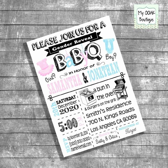 Gender Reveal Bbq Invitations Unique Bbq Gender Reveal Invitation Baby Q Gender Reveal Invite