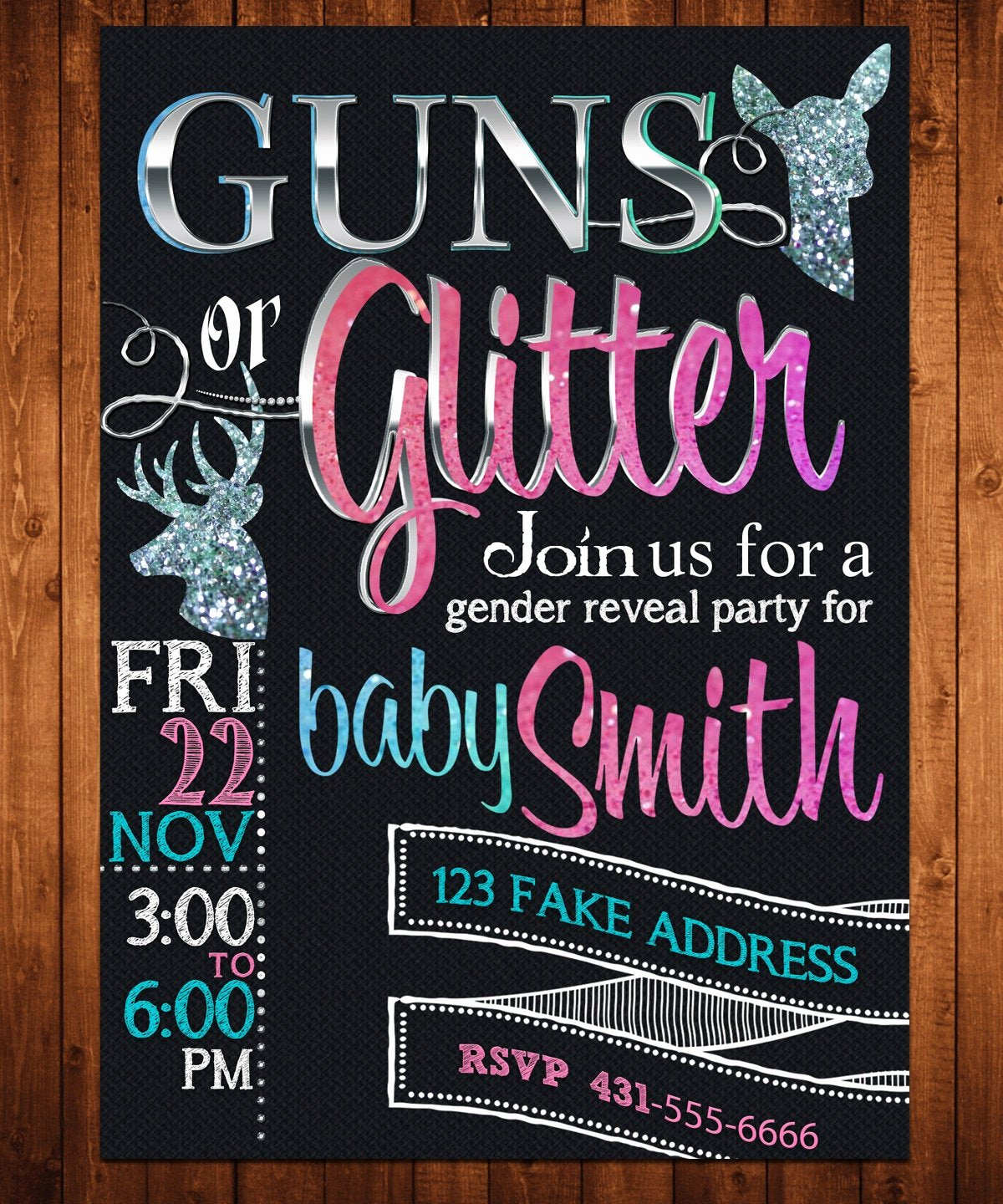 Gender Reveal Invitation Ideas Awesome Gender Reveal Invitation Guns or Glitter Customized by
