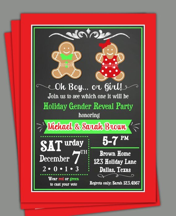 Gender Reveal Invitation Ideas Beautiful Christmas Gender Reveal Invitation Printable or Printed with