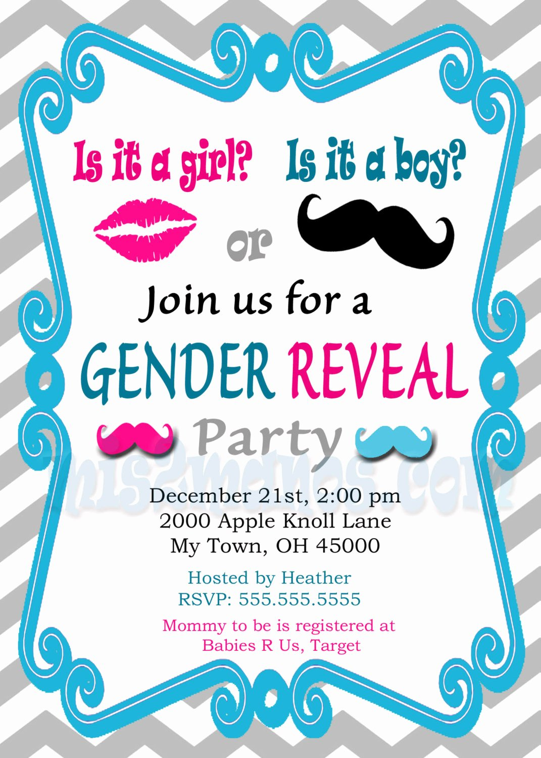 gender reveal invitation baby shower