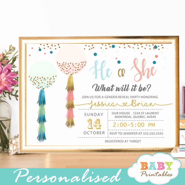 Gender Reveal Invitation Ideas Elegant Balloon Gender Reveal Invitations Pink Blue Tassels