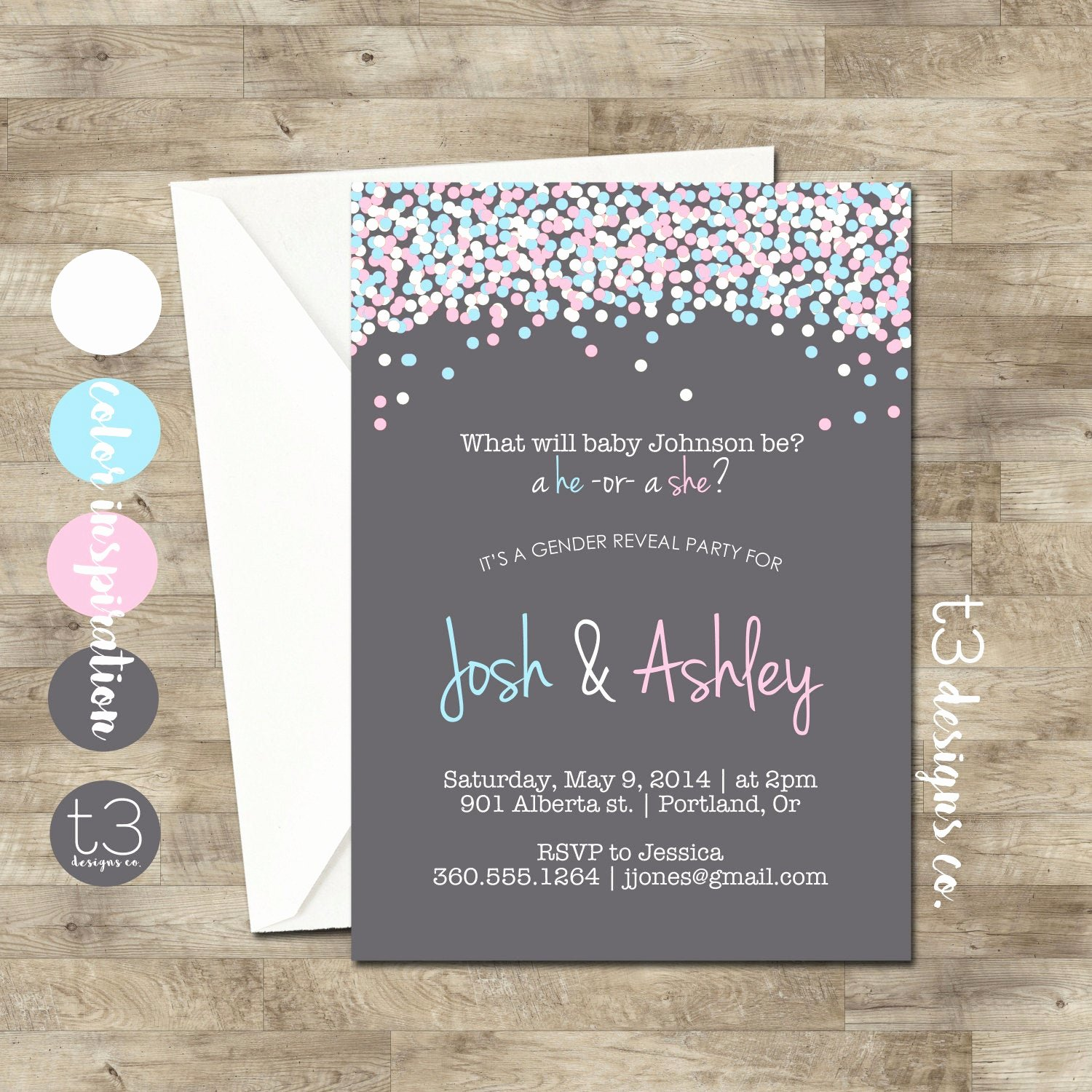 Gender Reveal Invitation Ideas Elegant Gender Reveal Invitation Confetti Gender Reveal Party