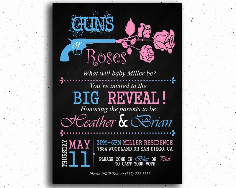 Gender Reveal Invitation Ideas Elegant Guns or Roses Printable Gender Reveal Invitation