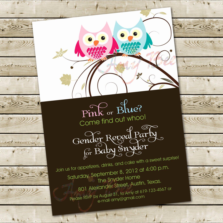 Gender Reveal Invitation Ideas Fresh Baby Shower Gender Reveal Invitation Owl theme