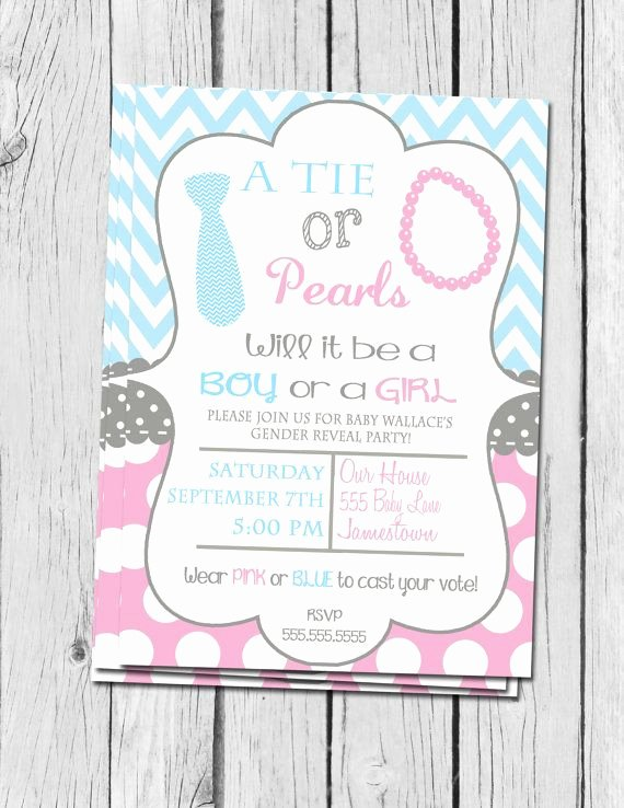 Gender Reveal Invitation Ideas Inspirational Gender Reveal Invitation Ties and Pearls Gender Reveal
