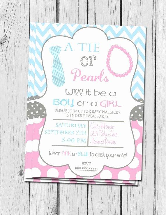 Gender Reveal Invitation Ideas Inspirational Gender Reveal Invitation Ties and Pearls Gender Reveal