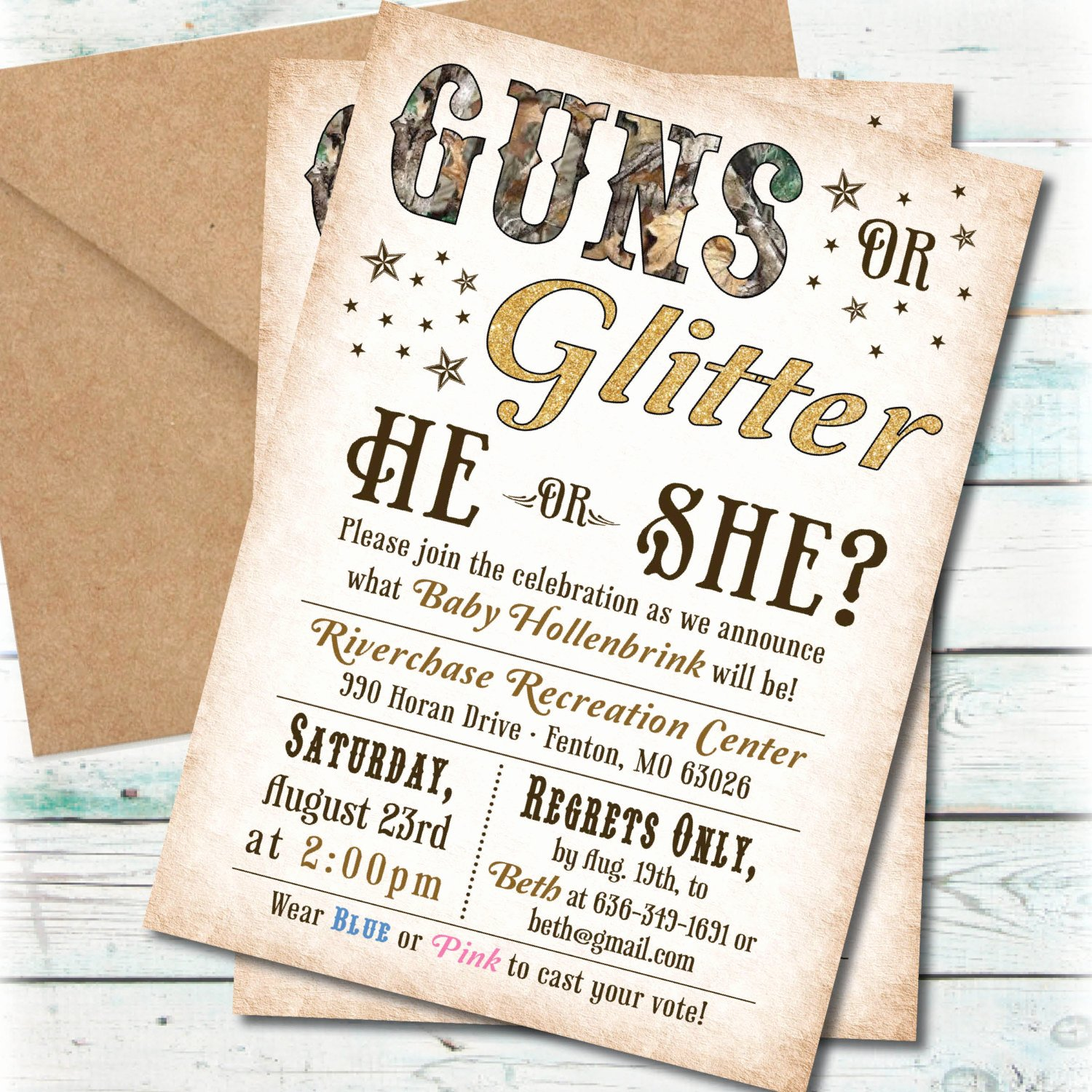 Gender Reveal Party Invitation Ideas Awesome Printable Guns or Glitter Gender Reveal Party Invitation