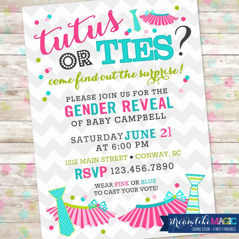 Gender Reveal Party Invitation Ideas Beautiful Tutus or Ties Gender Reveal Invite Gender Reveal Party Boy