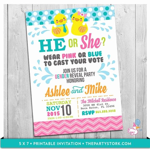 Gender Reveal Party Invitation Ideas Best Of Rubber Duck Gender Reveal Party Invitation Printable He