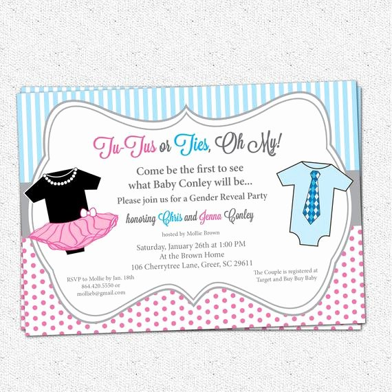 Gender Reveal Party Invitation Ideas Elegant Tutus or Ties Gender Reveal Baby Shower Party Invitation