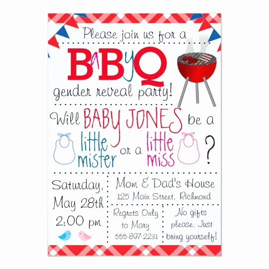 Gender Reveal Party Invitation Ideas Lovely Baby Q Gender Reveal Party Invitation