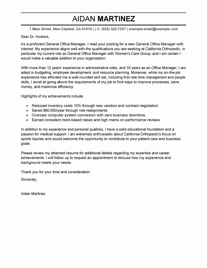 General Cover Letter Examples Inspirational Best Admin General Manager Cover Letter Examples