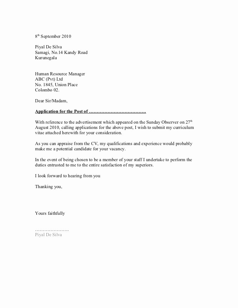 General Cover Letter Examples New General Cover Letter format 1