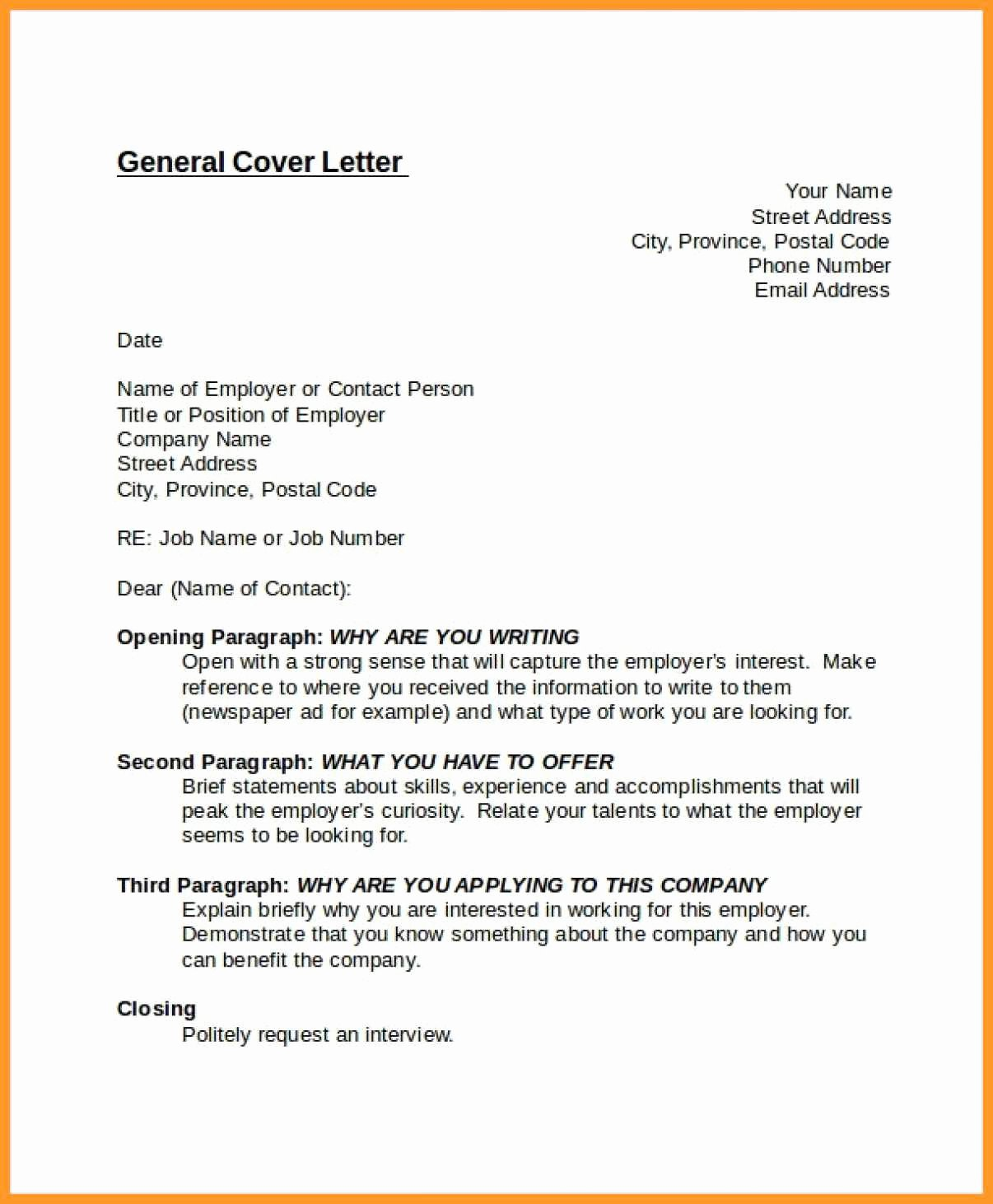 General Cover Letter for Job Luxury 9 10 Cover Letter for Unknown Position