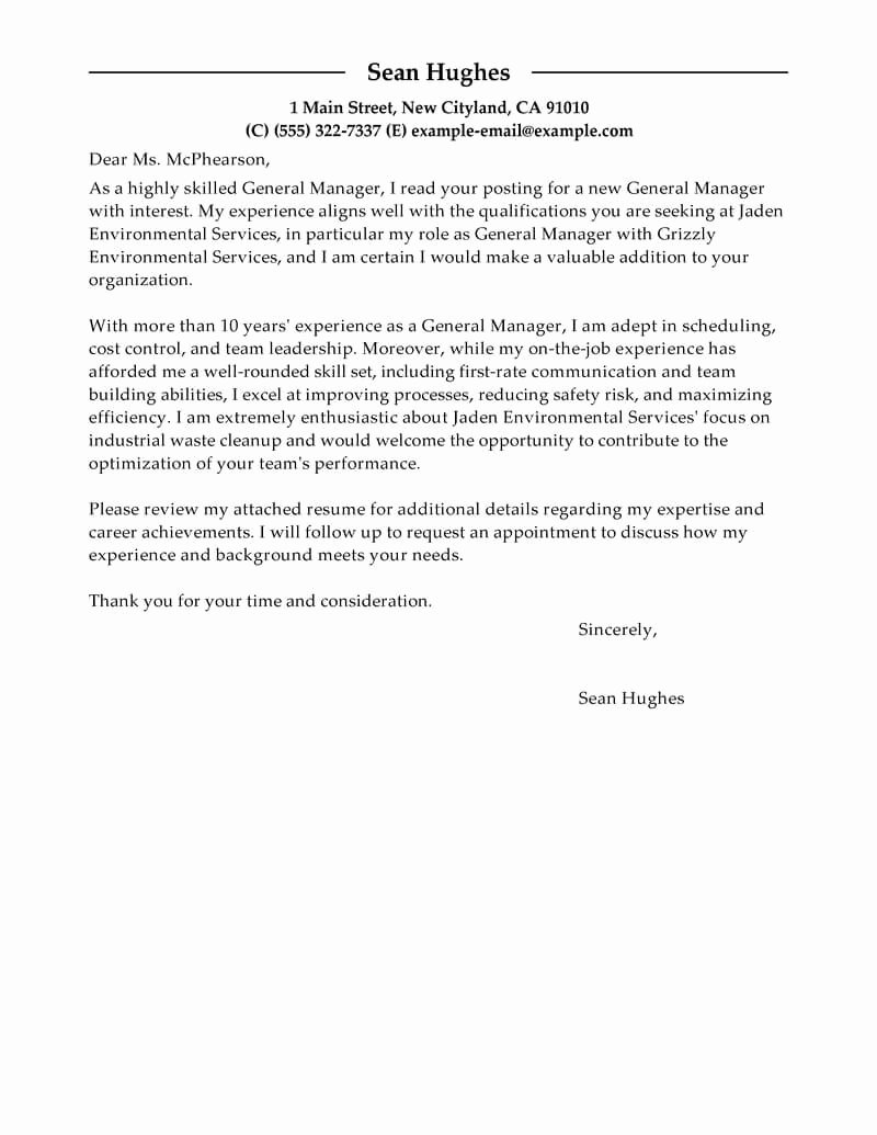 General Cover Letter Sample Awesome Best General Manager Cover Letter Examples