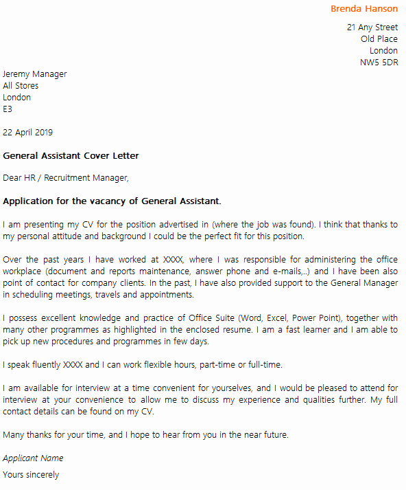 General Cover Letter Sample Awesome General assistant Cover Letter Example Icover