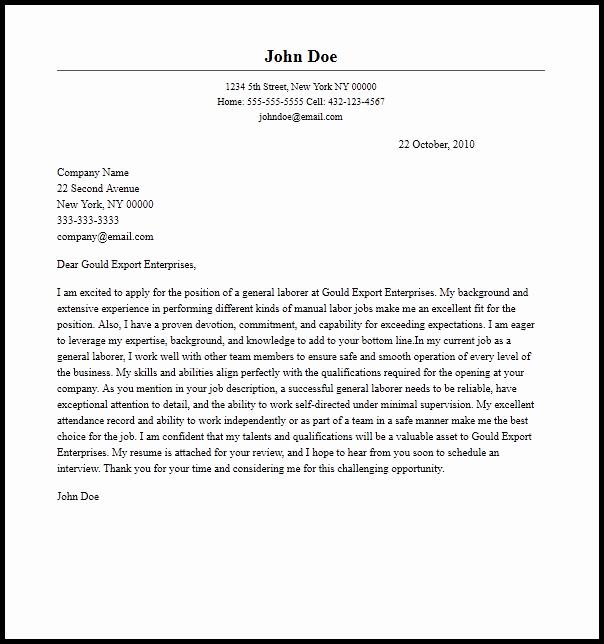 General Cover Letter Sample Elegant Cover Letter for A Labourer Position