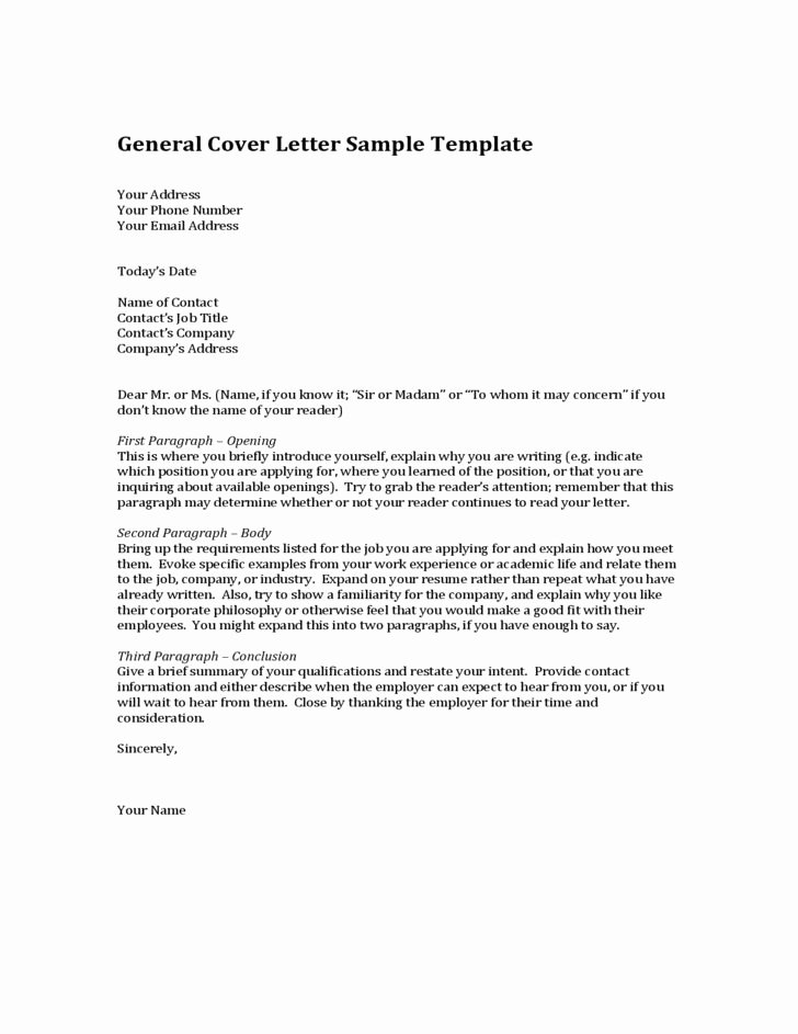 General Cover Letter Sample Inspirational General Cover Letter Sample Template
