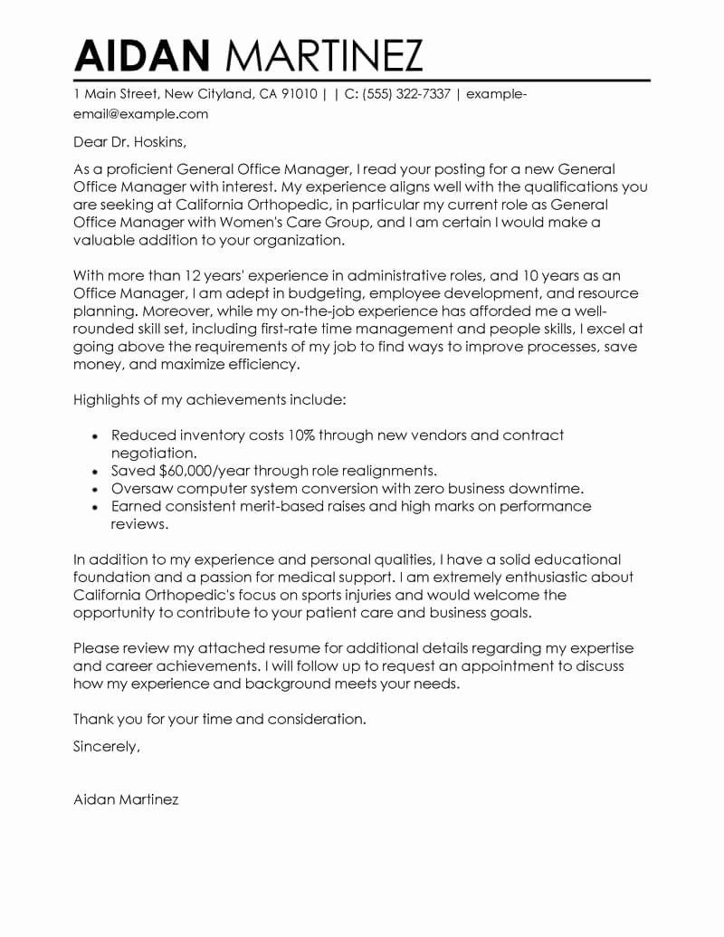 General Cover Letter Sample New Free Admin General Manager Cover Letter Examples