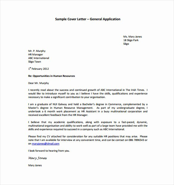 General Cover Letters for Jobs Fresh 15 General Cover Letter Templates Free Sample Example
