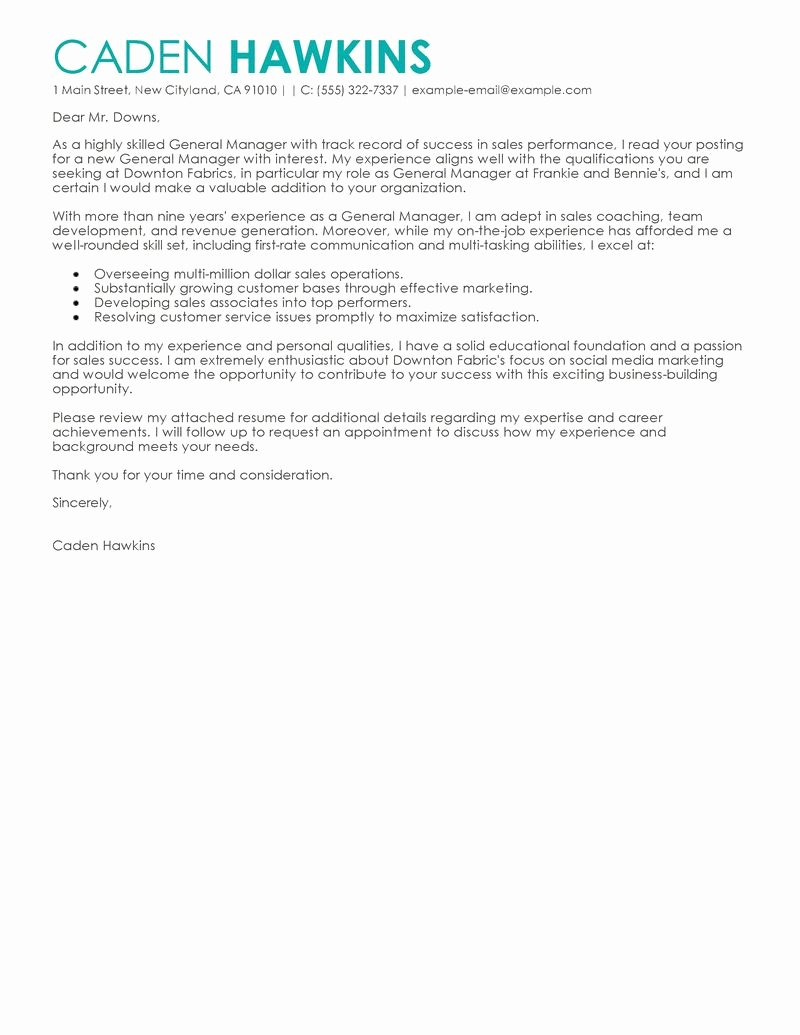 General Cover Letters for Jobs Fresh Best Sales General Manager Cover Letter Examples