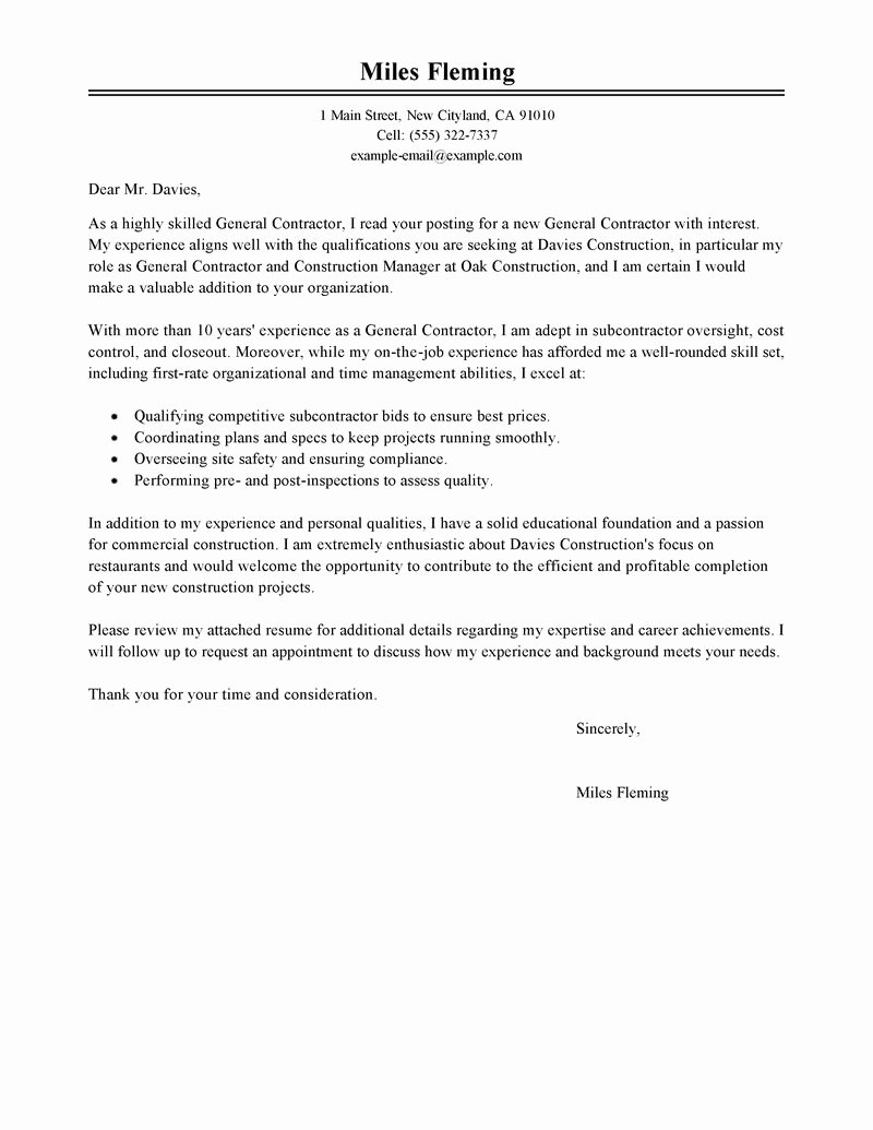 General Cover Letters for Jobs Lovely Best General Contractor Cover Letter Examples