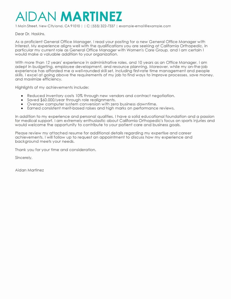 General Cover Letters for Jobs Luxury Free Admin General Manager Cover Letter Examples