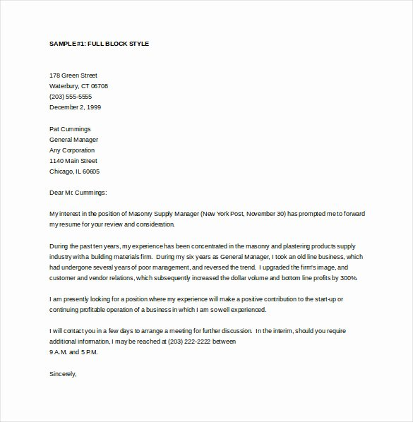General Cover Letters for Jobs Unique 15 General Cover Letter Templates Free Sample Example