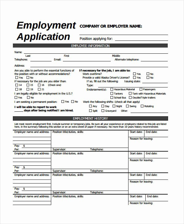 General Job Application form Awesome Generic Employment Application Template 8 Free Pdf