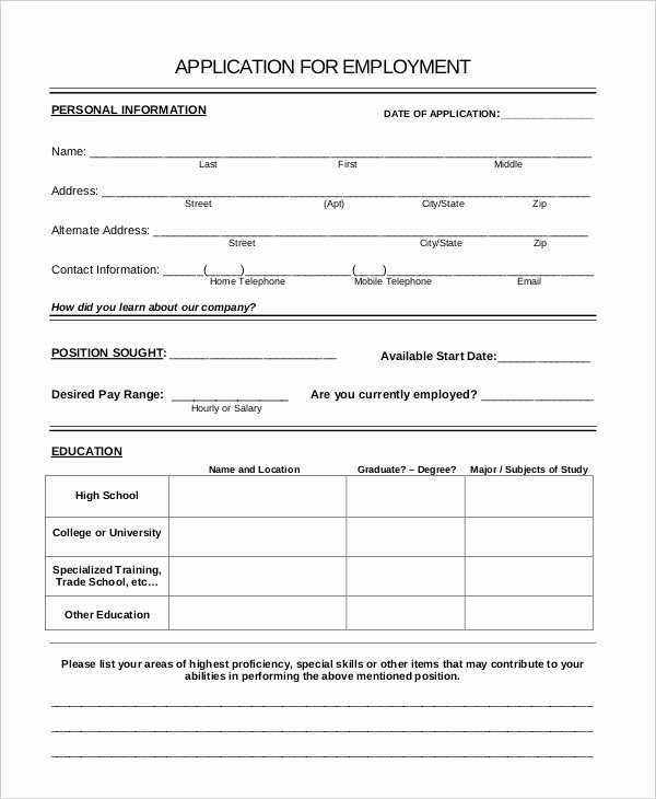 General Job Application form Beautiful Generic Job Application 8 Free Word Pdf Documents