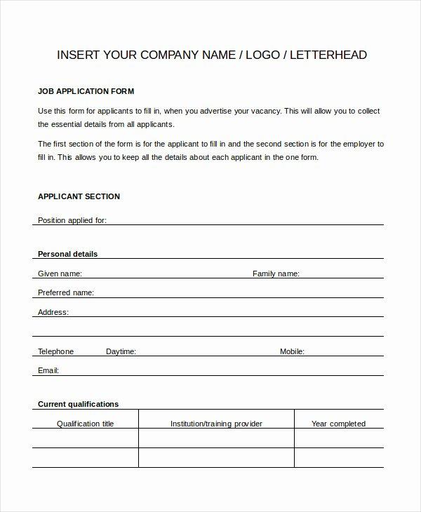 General Job Application form Beautiful Generic Job Application