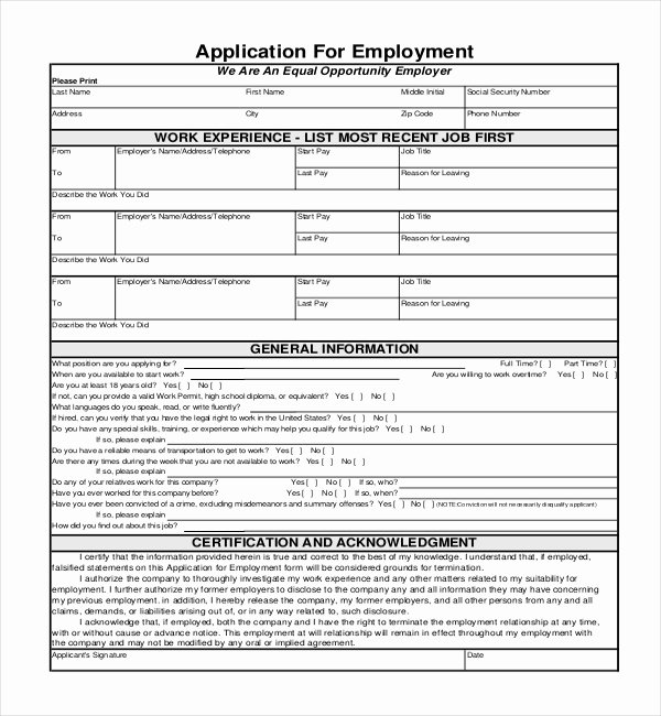 General Job Application form Best Of Sample Employment Application forms 12 Free Documents