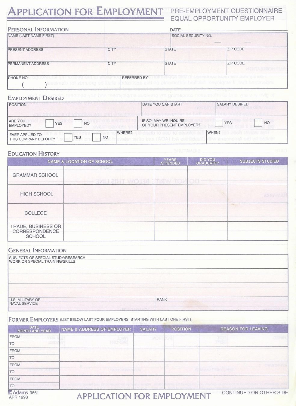 General Job Application form Luxury Generic Employment Application Alaska