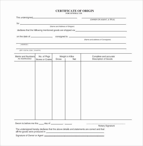 Generic Certificate Of origin Template Elegant Certificate origin Template Uk Generic Certificate