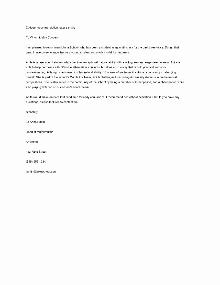 Generic Letter Of Recommendation Template New 43 Free Letter Of Re Mendation Templates & Samples