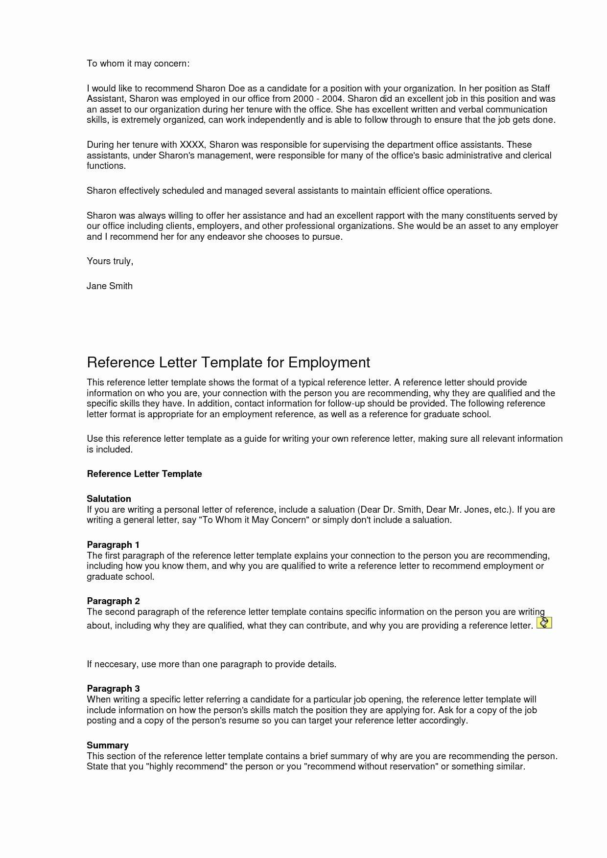 Generic Letter Of Recommendation Template Unique Reference Letters for Job Applicants