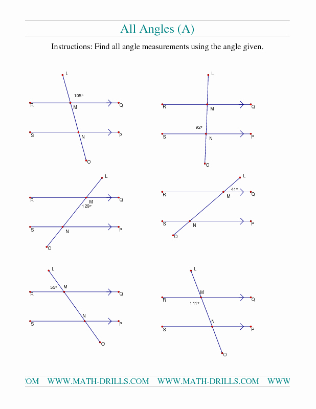 Geometry Worksheets High School Unique Geometry Worksheet Finding Angle Measurements A