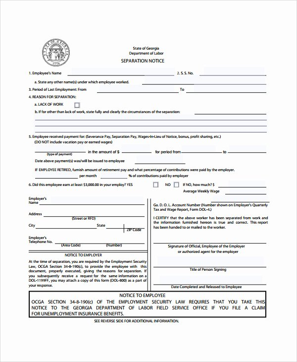 Georgia Separation Notice Fillable Inspirational 23 Of Business Separation Agreement Template Texas