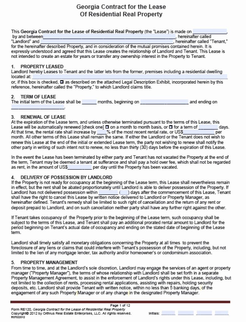 Georgia Separation Notice Fillable Unique Residental Lease Agreement Sample Residential Extension
