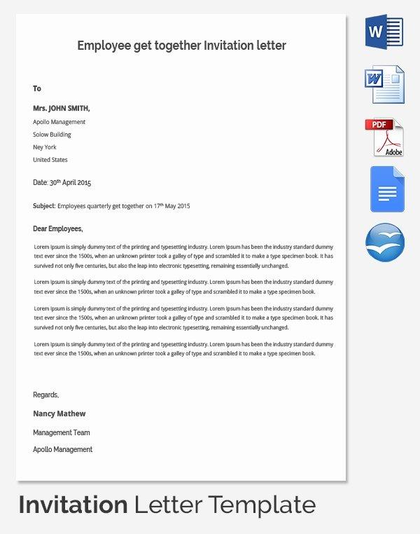 Get together Invitation Wording Samples Best Of Hr Invitation Letter Template 26 Free Word Pdf
