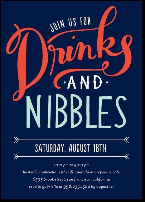 Get together Invitation Wording Samples New Drinks and Nibbles Party Invitations