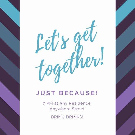 Get together Invitation Wording Samples Unique Violet and Blue Diagonal Lines Get to Her Invitation