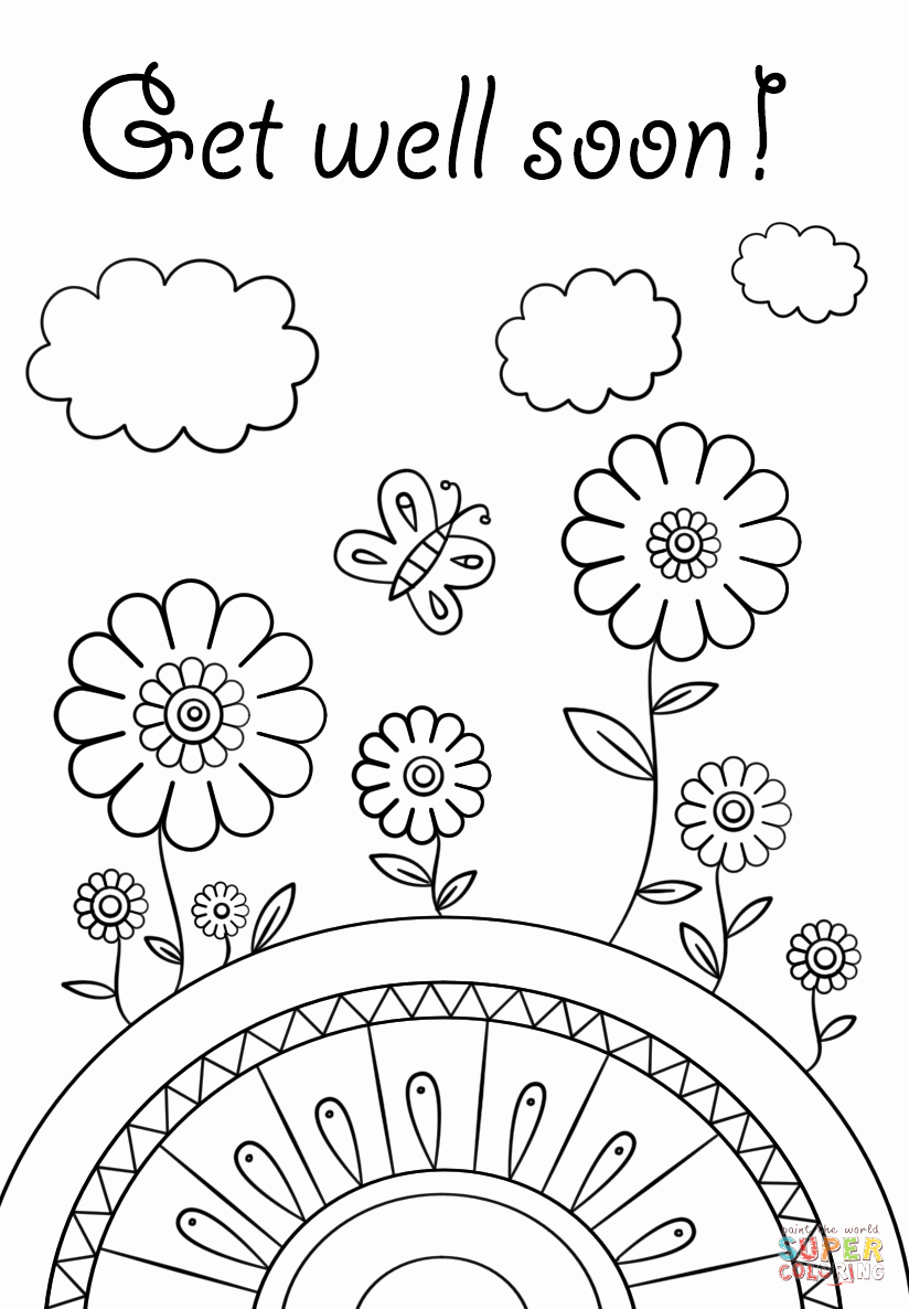 Get Well soon Cards Templates Best Of Get Well soon Coloring Page