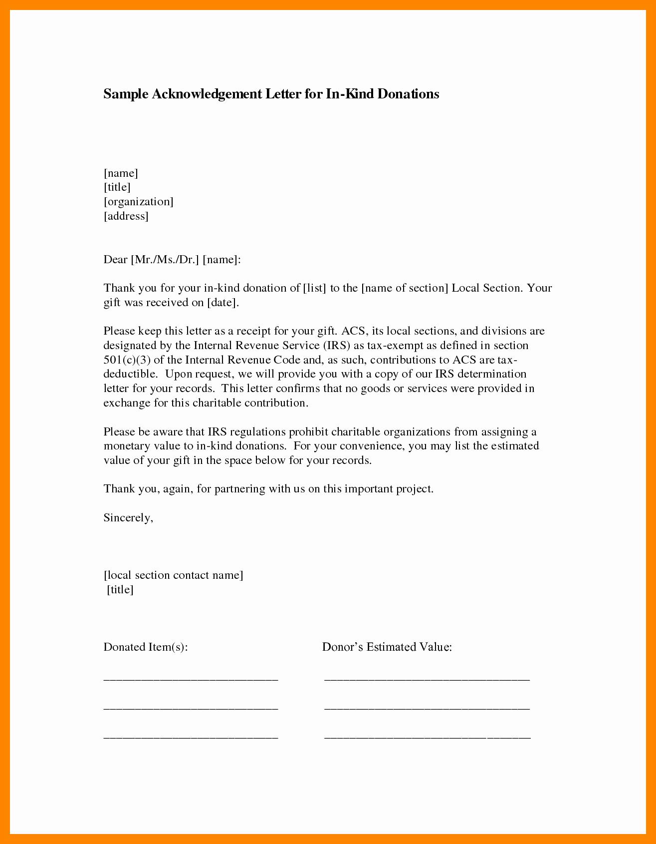 Gift Acknowledgement Letter Sample Unique 11 Example Of Acknowledgment Letter