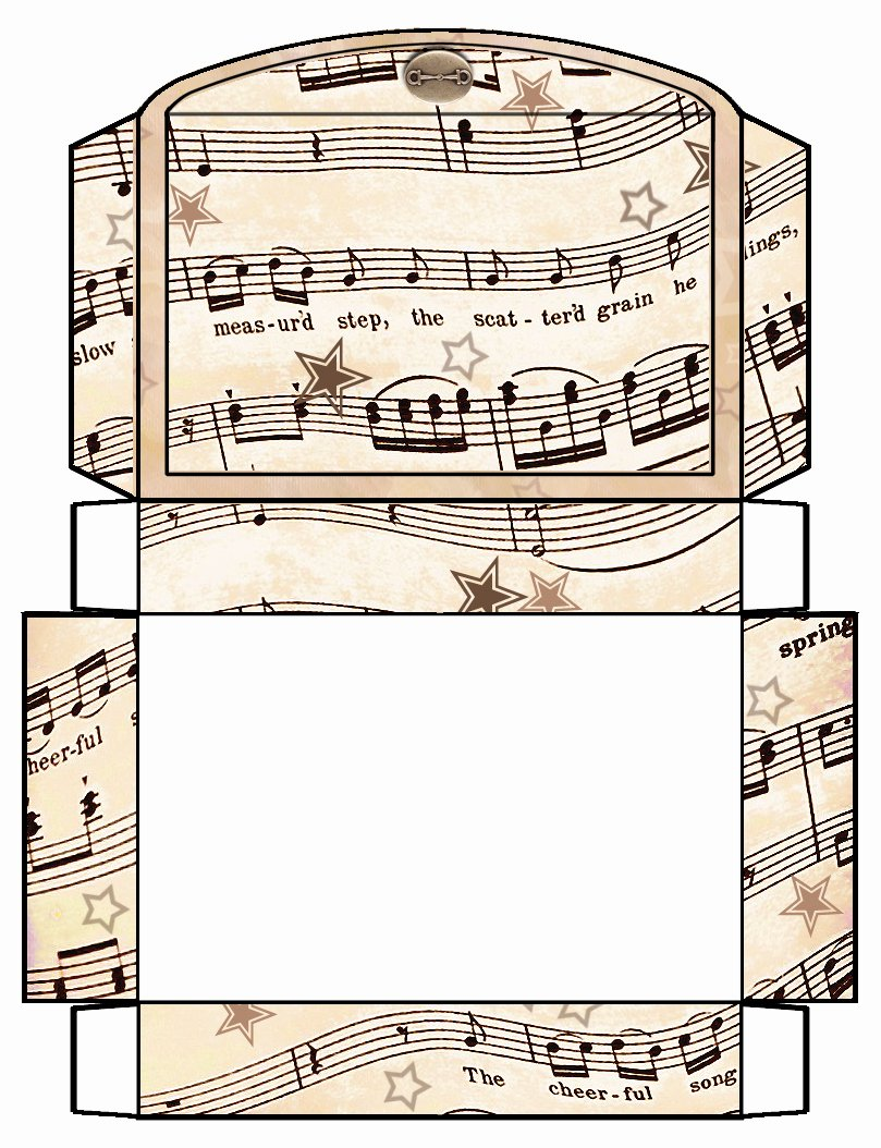 Gift Box Template Printable Awesome Artbyjean Vintage Sheet Music Printable Gift Boxes