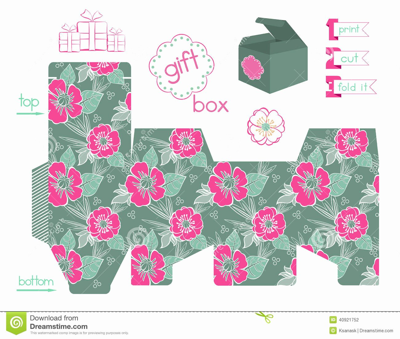 Gift Box Template Printable Lovely Printable Gift Box with Poppies Pattern Stock Vector